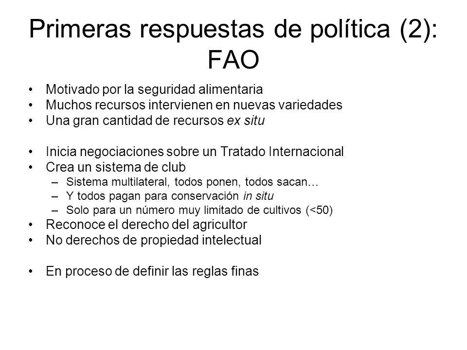 Primeras respuestas de política (2): FAO