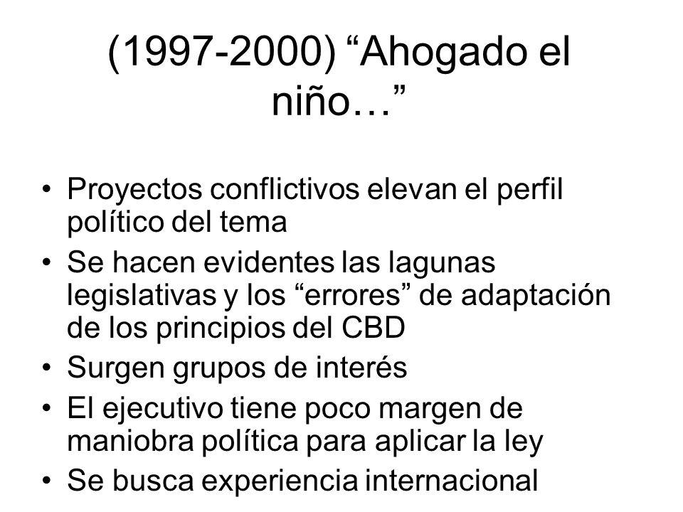 (1997-2000) Ahogado el niño… Proyectos conflictivos elevan el perfil político del tema.