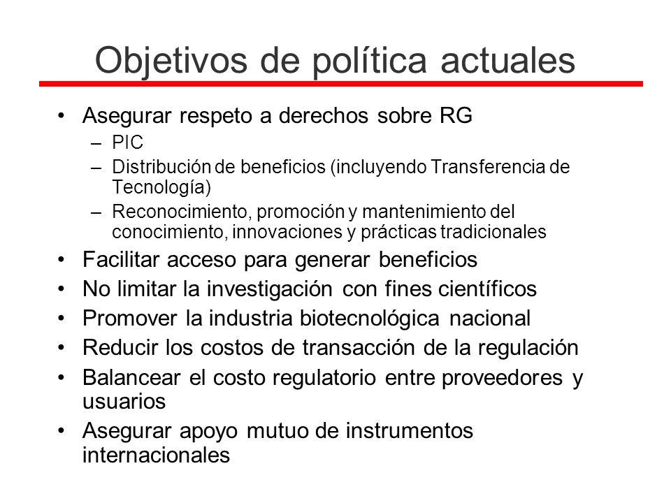 Objetivos de política actuales
