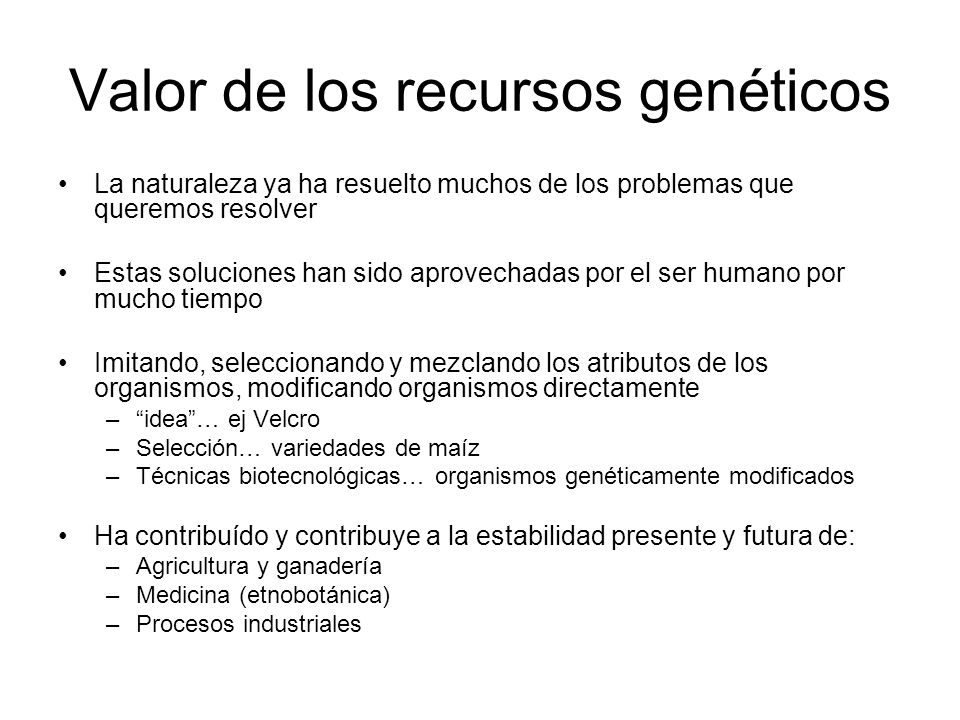 Valor de los recursos genéticos