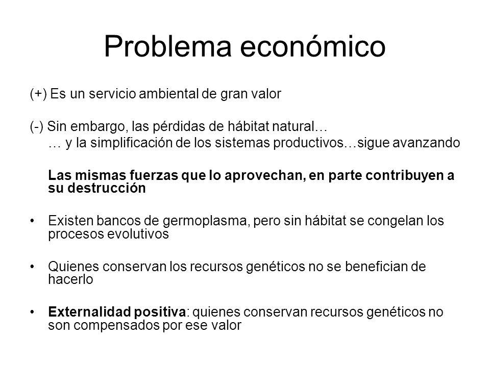 Problema económico (+) Es un servicio ambiental de gran valor