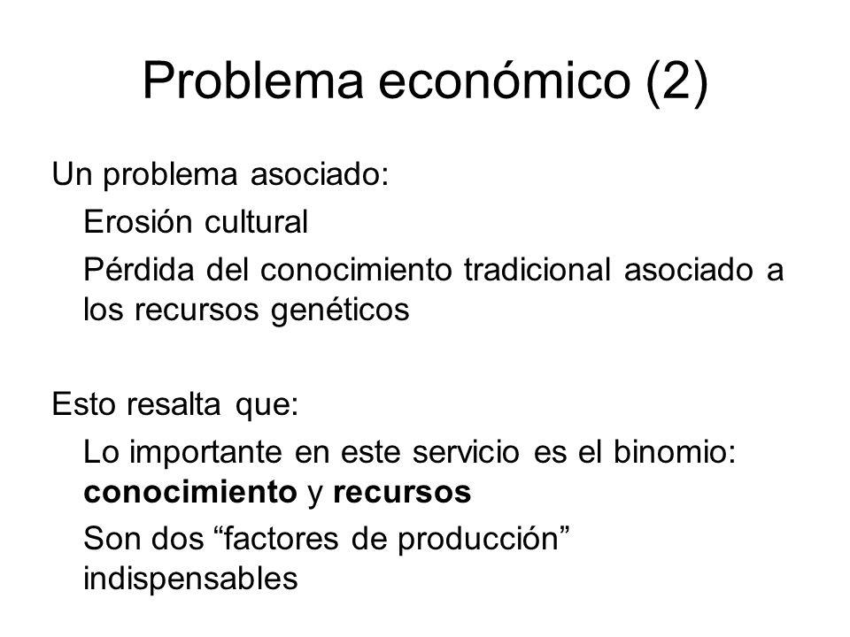 Problema económico (2) Un problema asociado: Erosión cultural