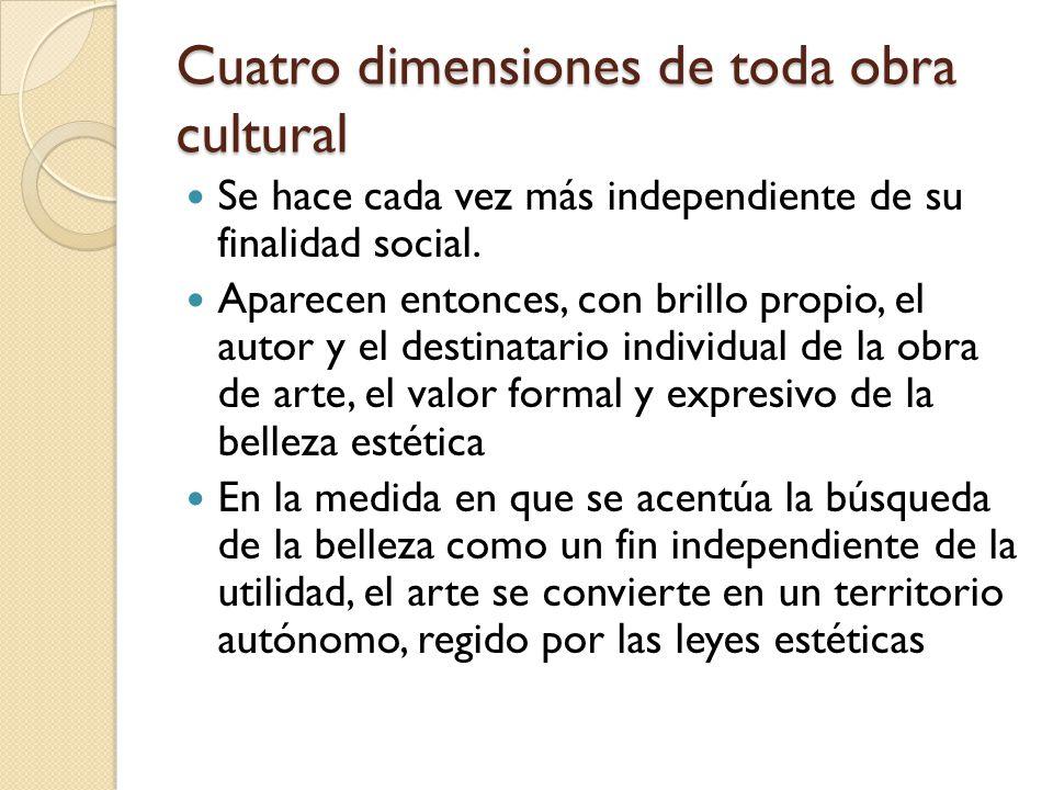 Cuatro dimensiones de toda obra cultural