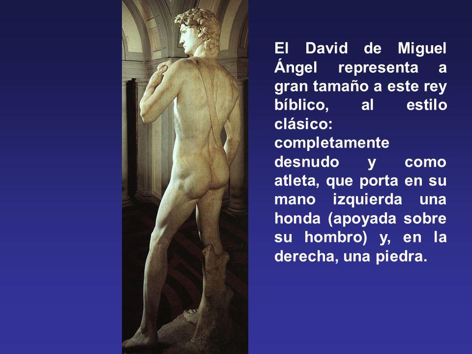 El David de Miguel Ángel representa a gran tamaño a este rey bíblico, al estilo clásico: completamente desnudo y como atleta, que porta en su mano izquierda una honda (apoyada sobre su hombro) y, en la derecha, una piedra.