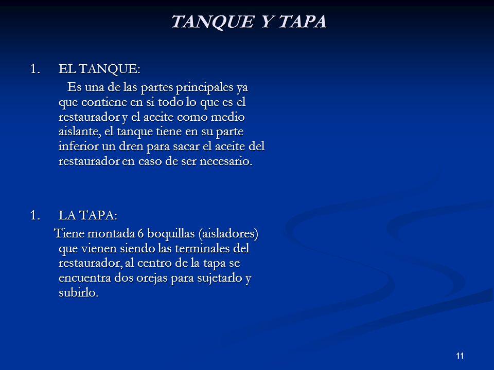 TANQUE Y TAPA EL TANQUE: