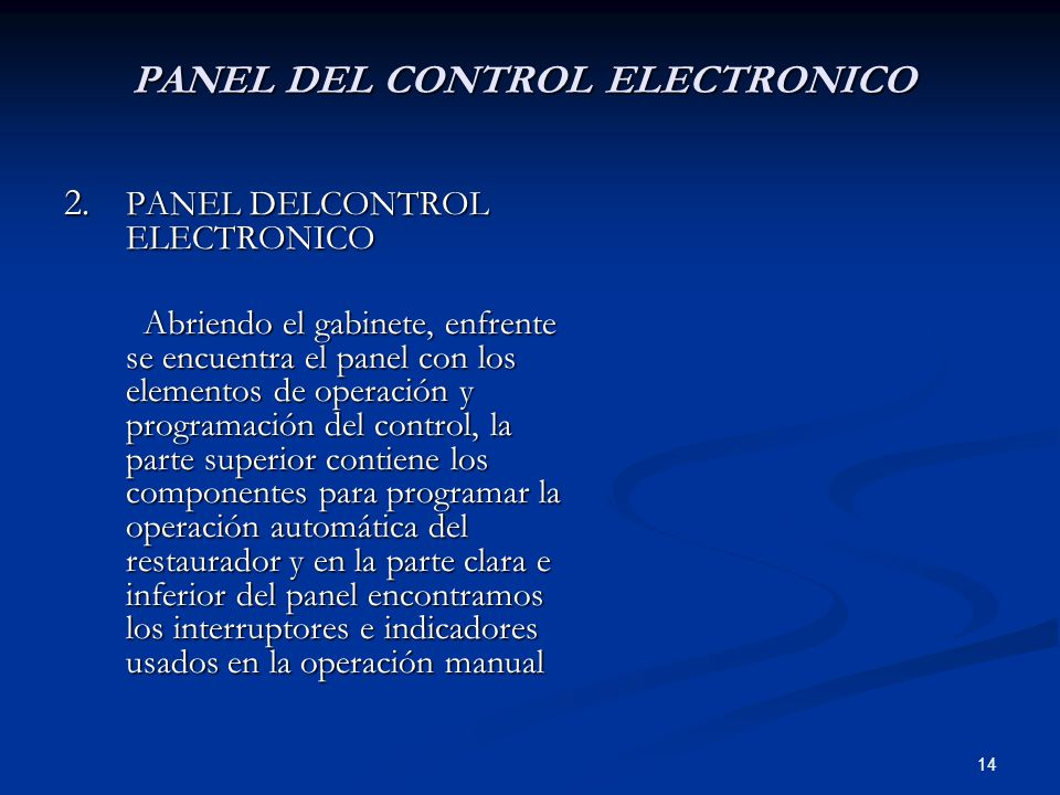 PANEL DEL CONTROL ELECTRONICO