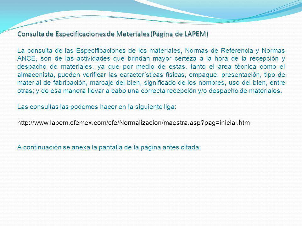 Consulta de Especificaciones de Materiales (Página de LAPEM)