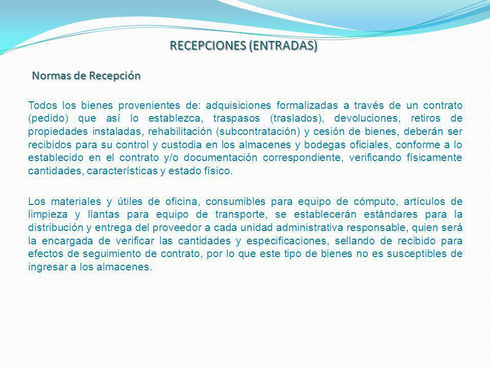 RECEPCIONES (ENTRADAS)