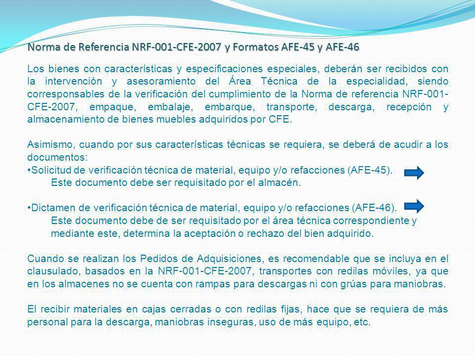 Norma de Referencia NRF-001-CFE-2007 y Formatos AFE-45 y AFE-46