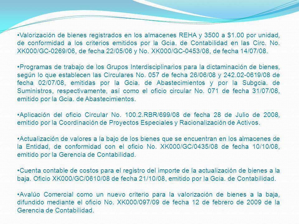 Valorización de bienes registrados en los almacenes REHA y 3500 a $1