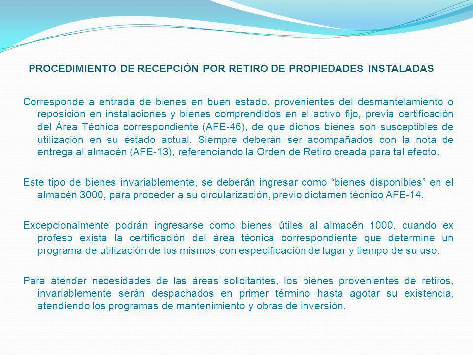 PROCEDIMIENTO DE RECEPCIÓN POR RETIRO DE PROPIEDADES INSTALADAS
