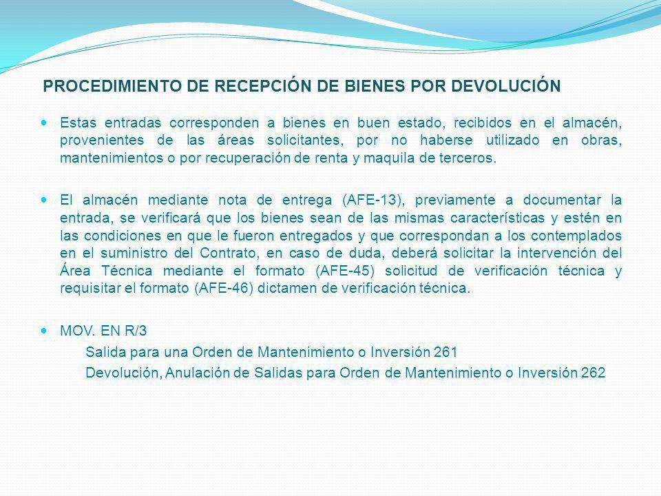 PROCEDIMIENTO DE RECEPCIÓN DE BIENES POR DEVOLUCIÓN