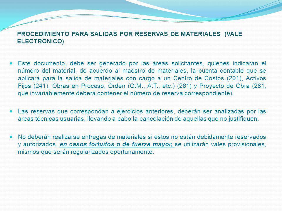 PROCEDIMIENTO PARA SALIDAS POR RESERVAS DE MATERIALES (VALE ELECTRONICO)