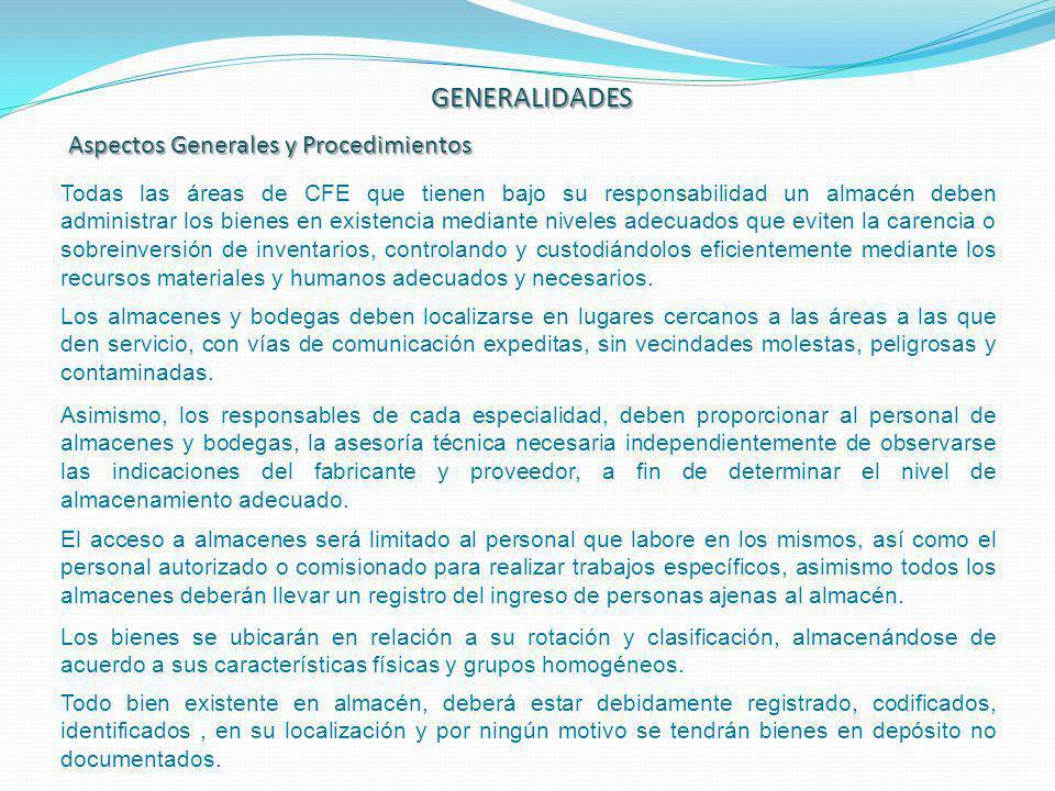GENERALIDADES Aspectos Generales y Procedimientos