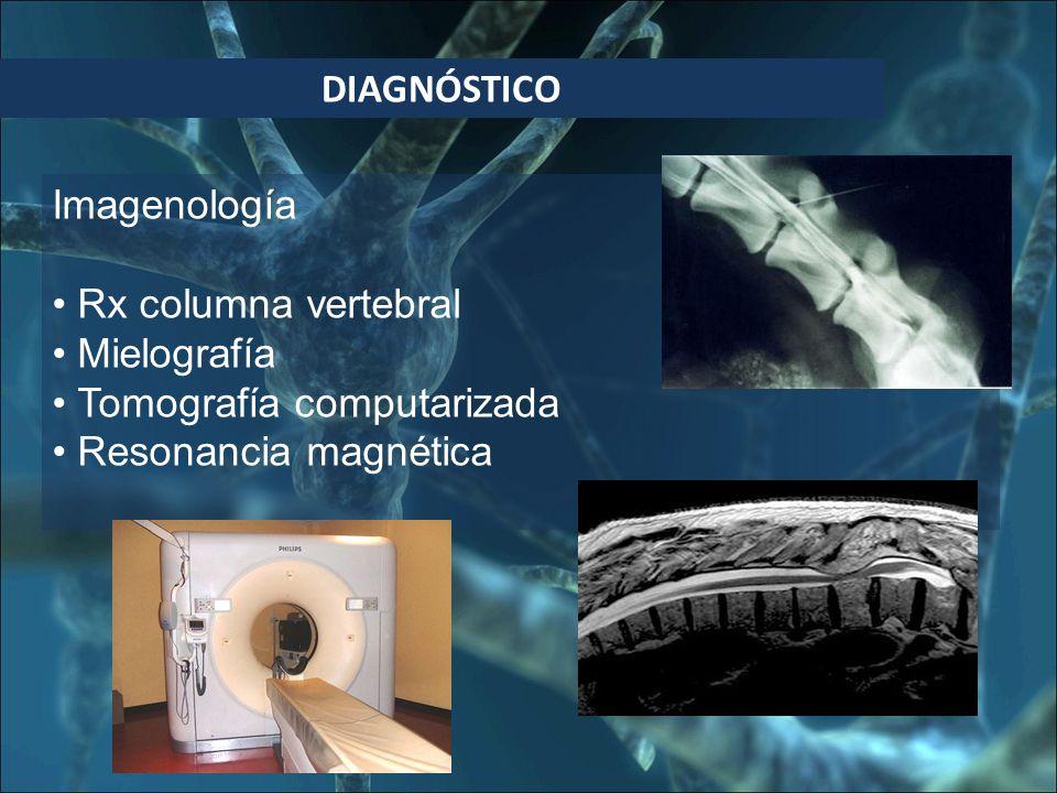 DIAGNÓSTICO Imagenología. Rx columna vertebral. Mielografía.