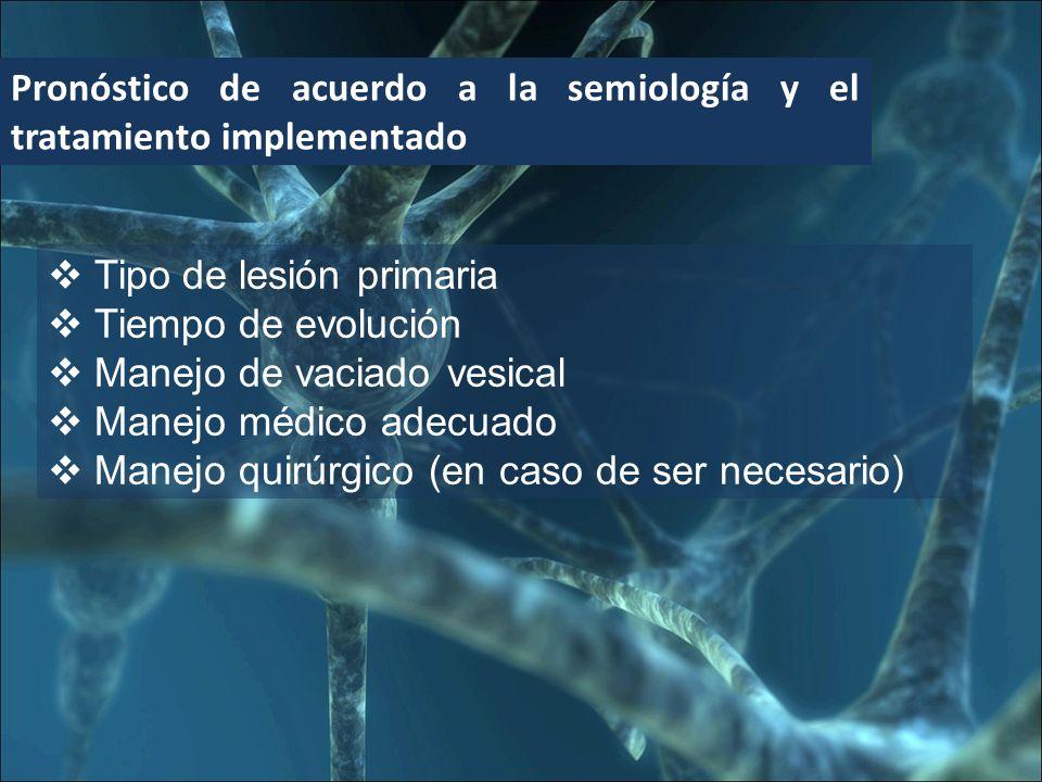 Pronóstico de acuerdo a la semiología y el tratamiento implementado