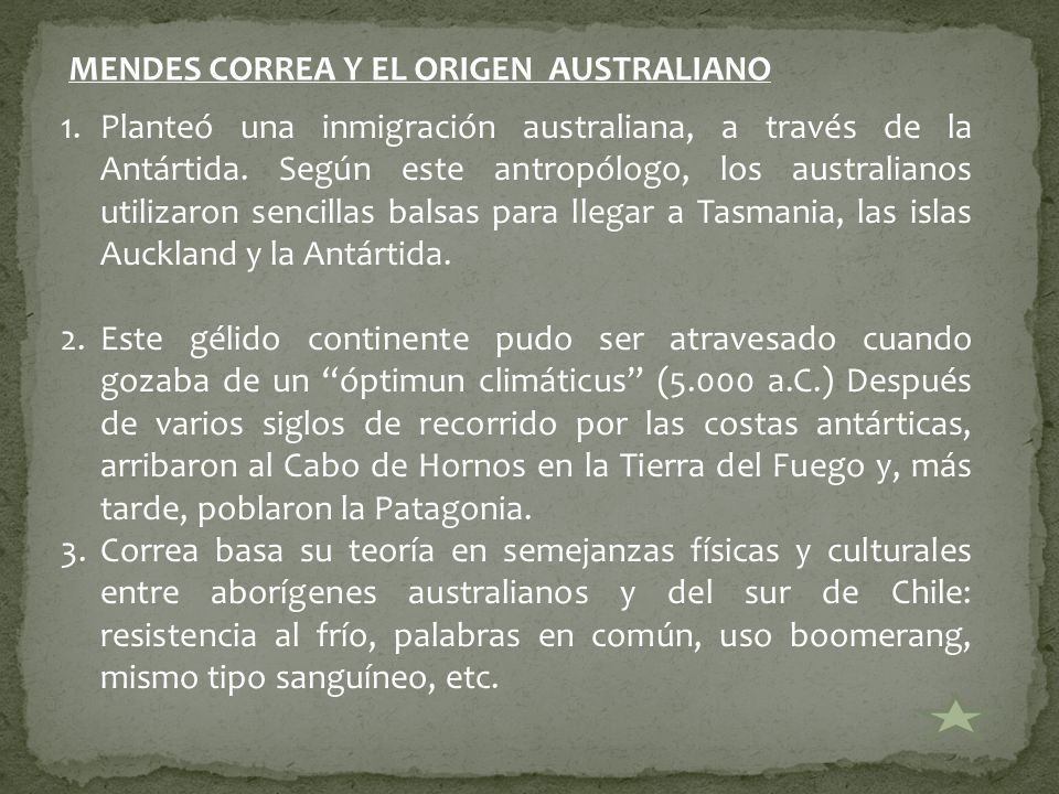 MENDES CORREA Y EL ORIGEN AUSTRALIANO