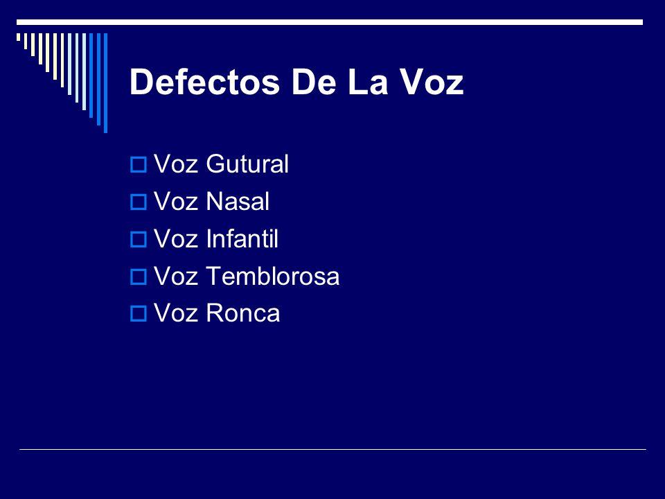 Defectos De La Voz Voz Gutural Voz Nasal Voz Infantil Voz Temblorosa