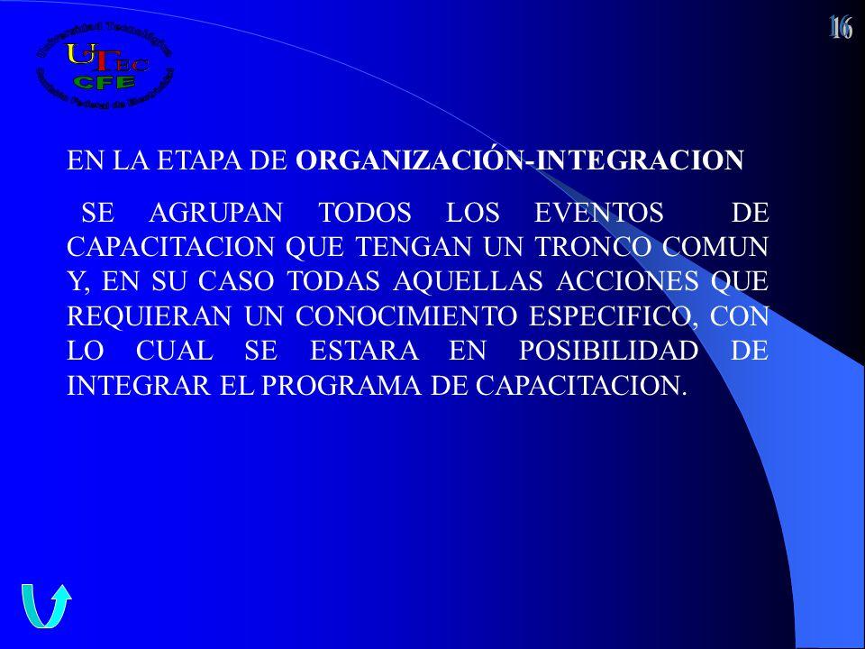 EN LA ETAPA DE ORGANIZACIÓN-INTEGRACION