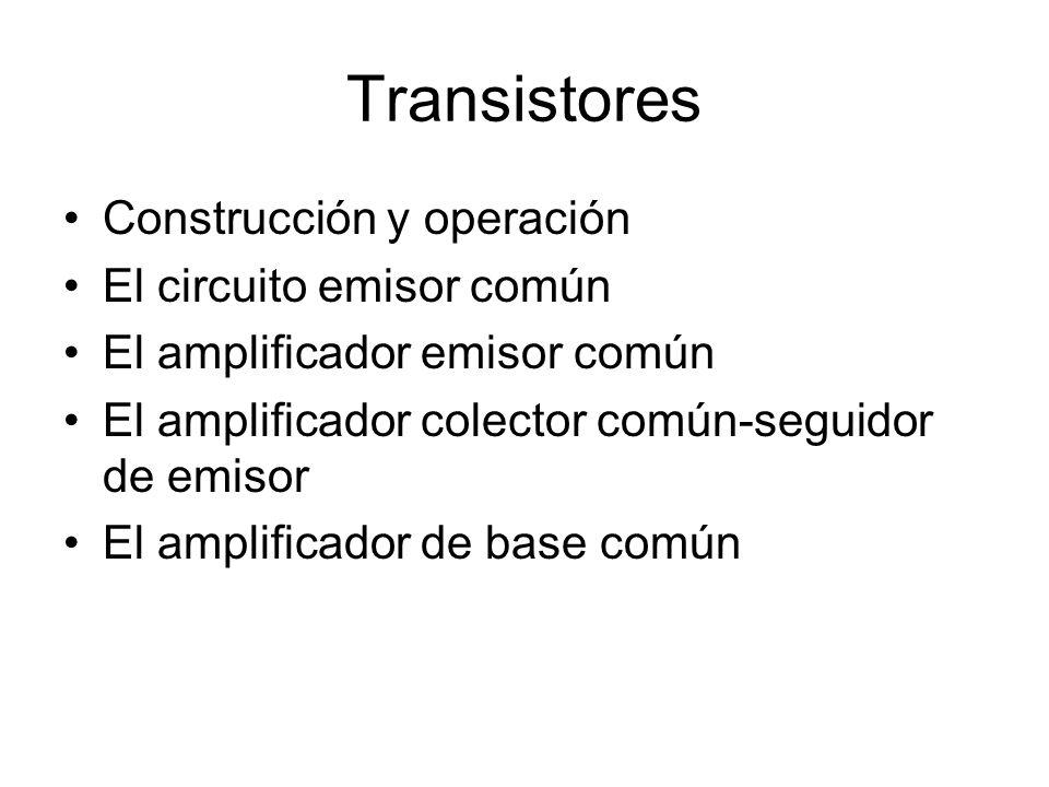 Transistores Construcción y operación El circuito emisor común
