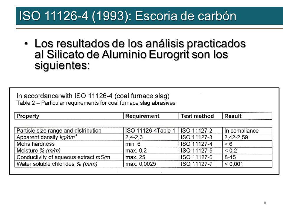 ISO 11126-4 (1993): Escoria de carbón