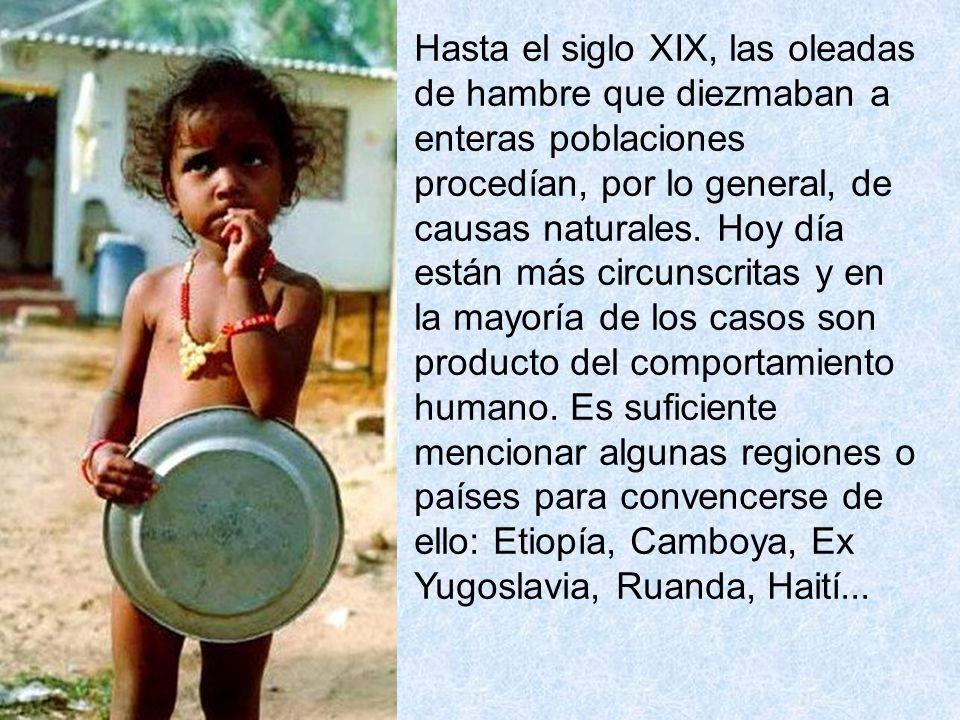 Hasta el siglo XIX, las oleadas de hambre que diezmaban a enteras poblaciones procedían, por lo general, de causas naturales.
