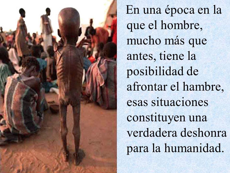 En una época en la que el hombre, mucho más que antes, tiene la posibilidad de afrontar el hambre, esas situaciones constituyen una verdadera deshonra para la humanidad.