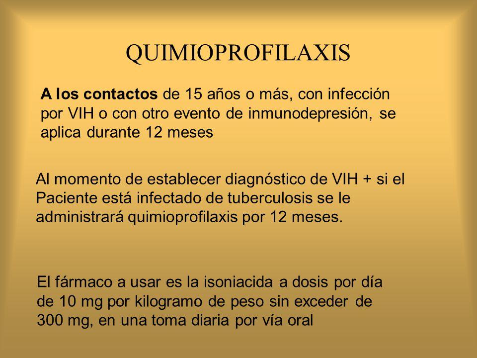 QUIMIOPROFILAXIS A los contactos de 15 años o más, con infección por VIH o con otro evento de inmunodepresión, se aplica durante 12 meses.