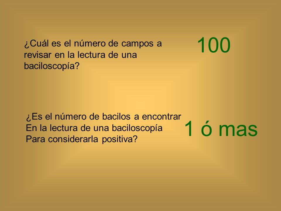 100 ¿Cuál es el número de campos a revisar en la lectura de una baciloscopía ¿Es el número de bacilos a encontrar.
