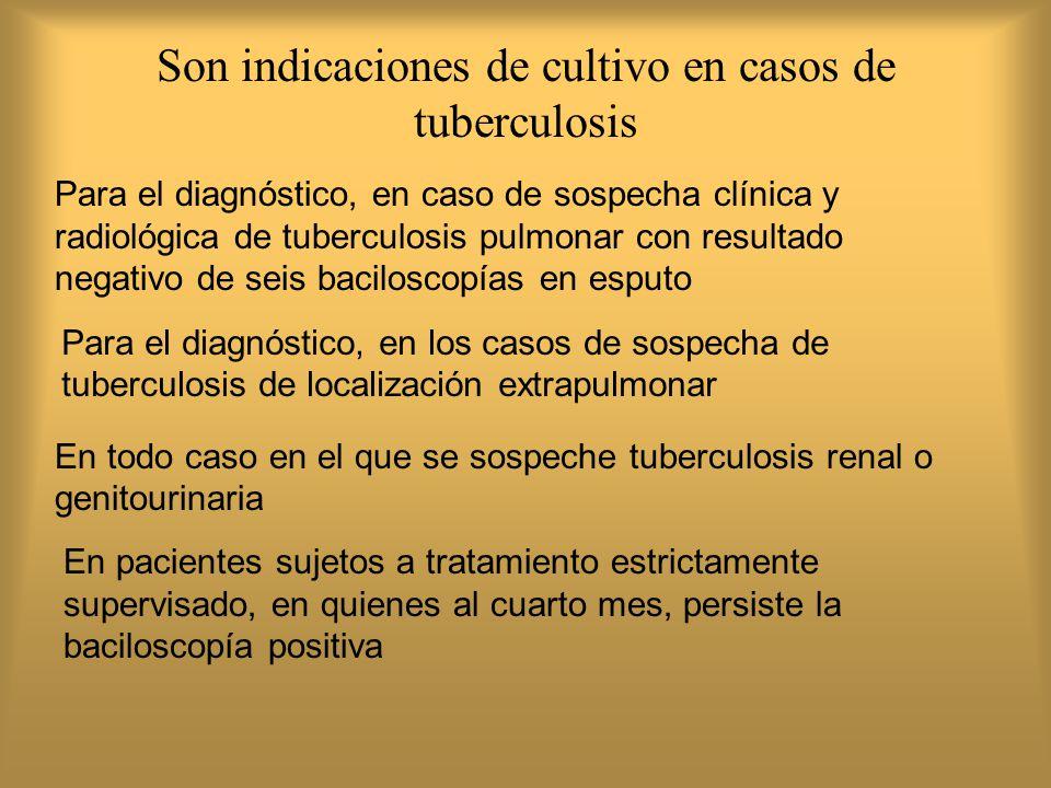 Son indicaciones de cultivo en casos de tuberculosis