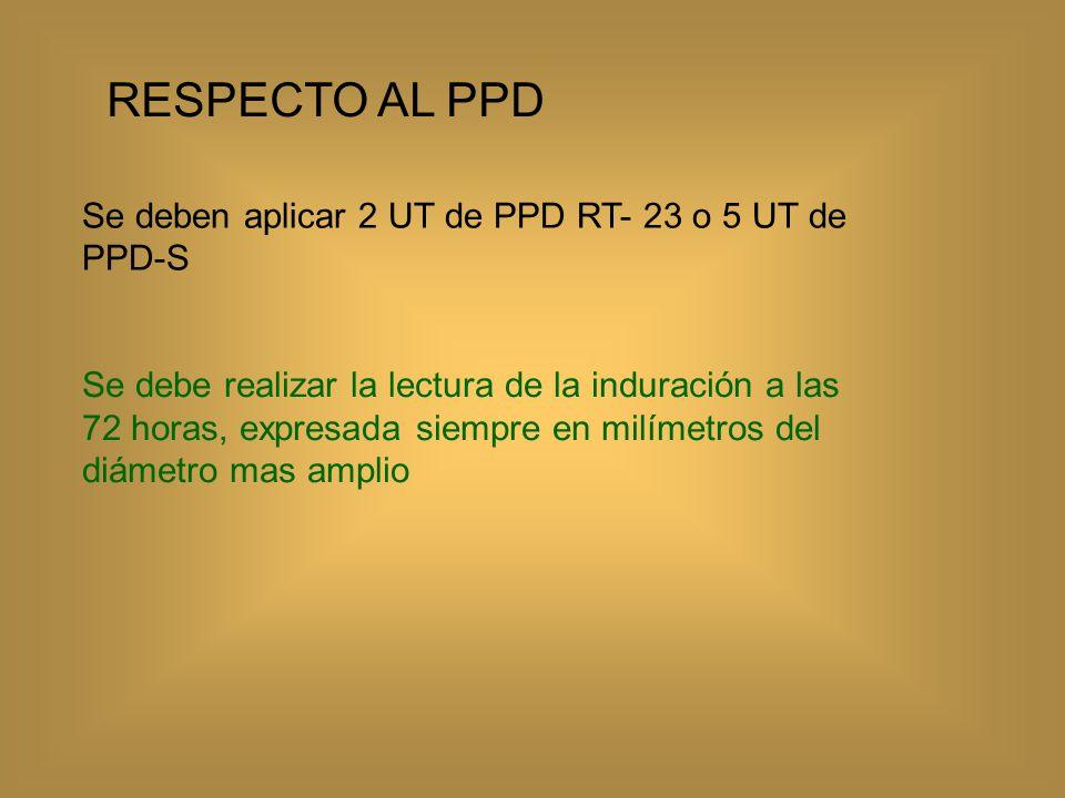 RESPECTO AL PPD Se deben aplicar 2 UT de PPD RT- 23 o 5 UT de PPD-S