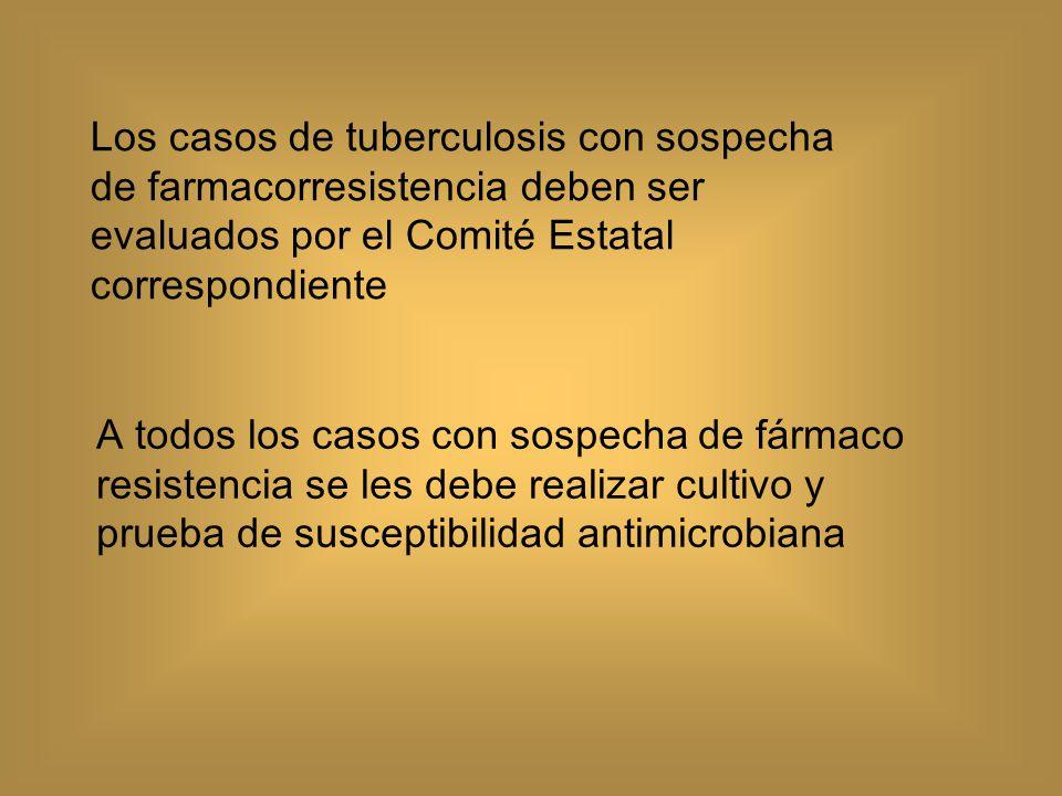 Los casos de tuberculosis con sospecha de farmacorresistencia deben ser evaluados por el Comité Estatal correspondiente