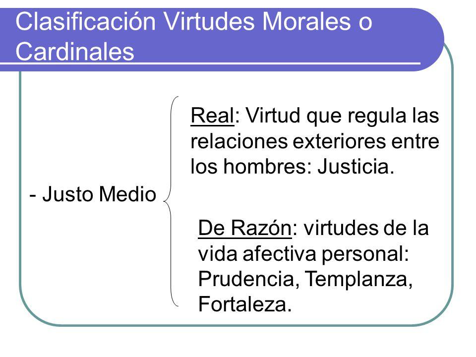 Clasificación Virtudes Morales o Cardinales