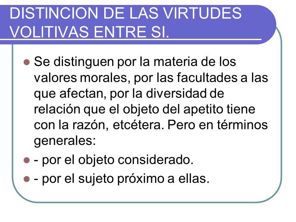 DISTlNCION DE LAS VIRTUDES VOLlTIVAS ENTRE SI.