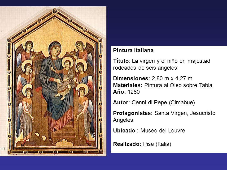 Pintura Italiana Título: La virgen y el niño en majestad rodeados de seis ángeles.