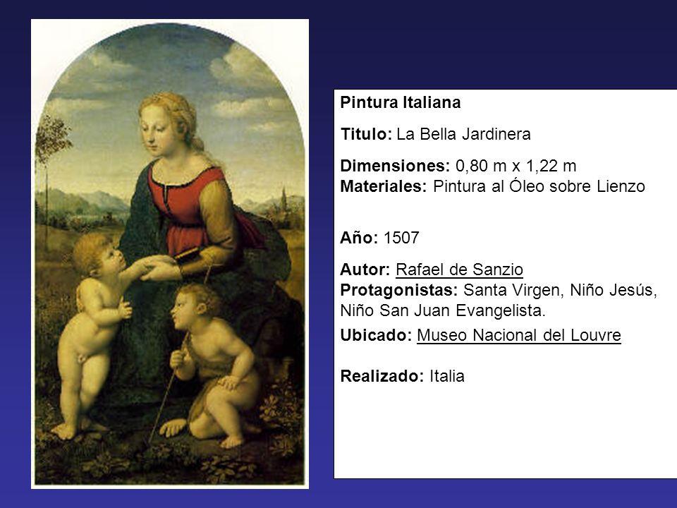 Pintura Italiana Titulo: La Bella Jardinera. Dimensiones: 0,80 m x 1,22 m Materiales: Pintura al Óleo sobre Lienzo.