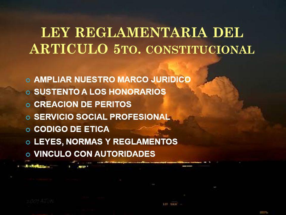 LEY REGLAMENTARIA DEL ARTICULO 5to. constitucional