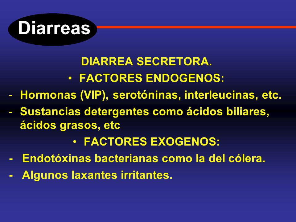 Diarreas DIARREA SECRETORA. FACTORES ENDOGENOS: