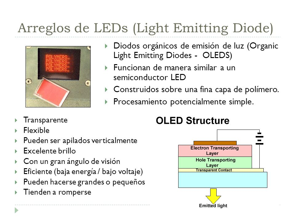 Arreglos de LEDs (Light Emitting Diode)