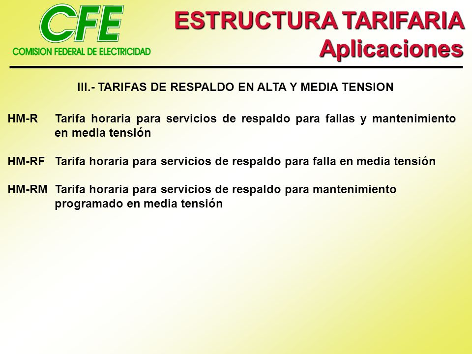 III.- TARIFAS DE RESPALDO EN ALTA Y MEDIA TENSION
