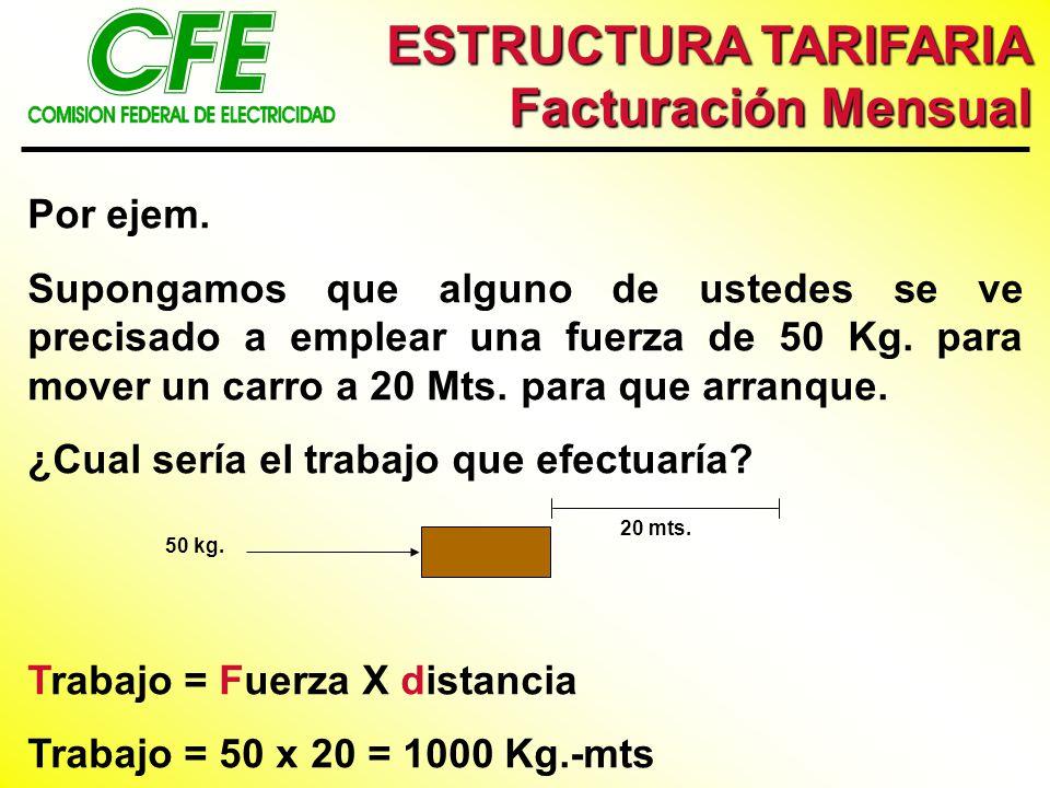 ESTRUCTURA TARIFARIA Facturación Mensual Por ejem.
