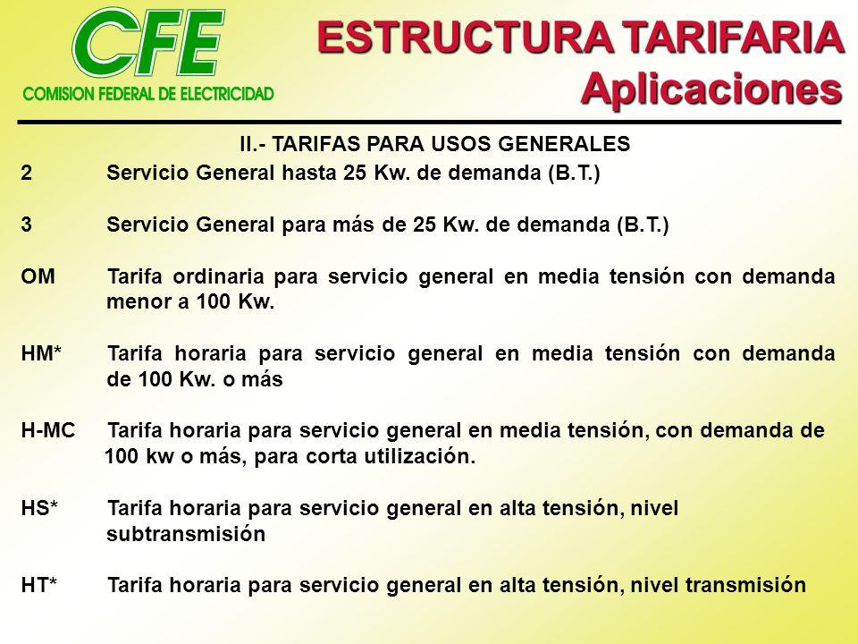 II.- TARIFAS PARA USOS GENERALES