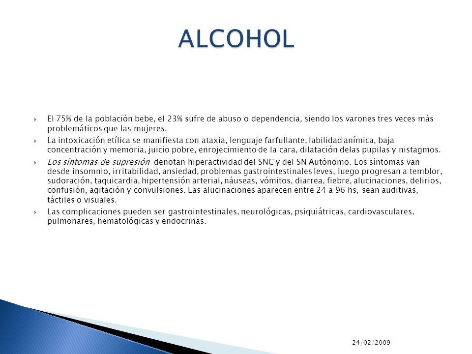 ALCOHOL El 75% de la población bebe, el 23% sufre de abuso o dependencia, siendo los varones tres veces más problemáticos que las mujeres.