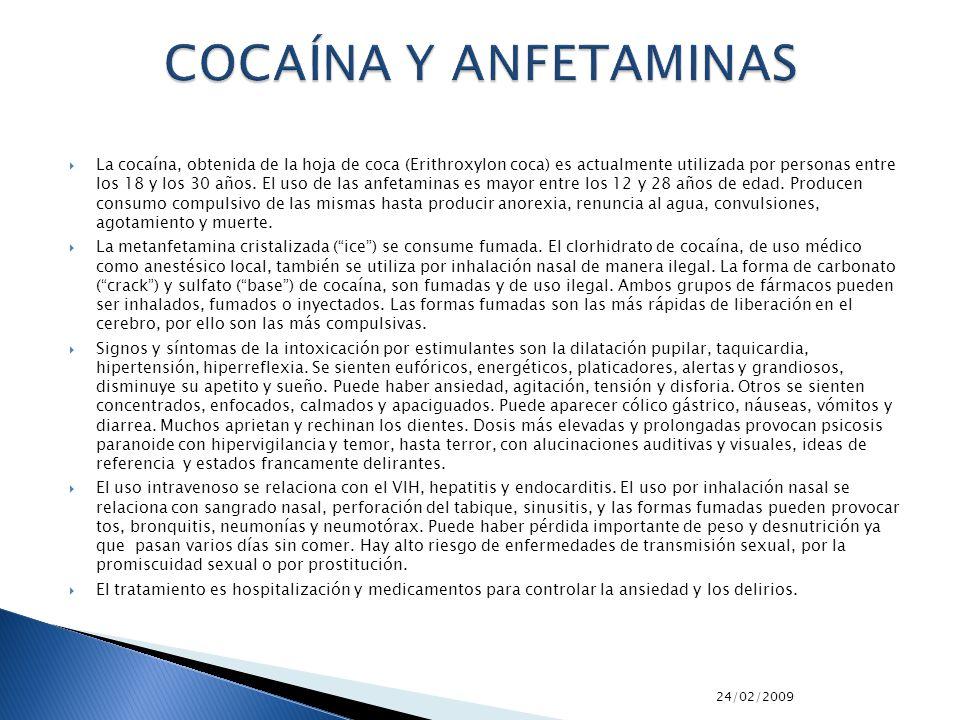 COCAÍNA Y ANFETAMINAS