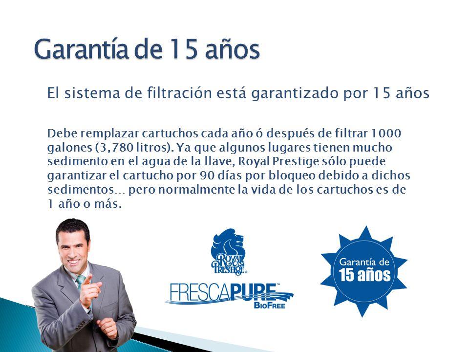 Garantía de 15 años El sistema de filtración está garantizado por 15 años.