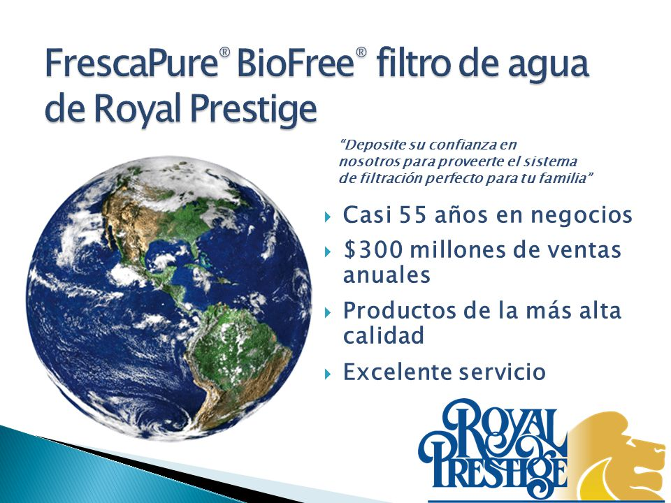 FrescaPure® BioFree® filtro de agua de Royal Prestige