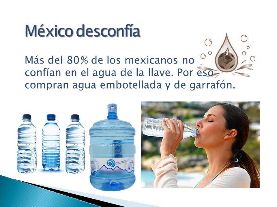 México desconfía Más del 80 % de los mexicanos no confían en el agua de la llave.