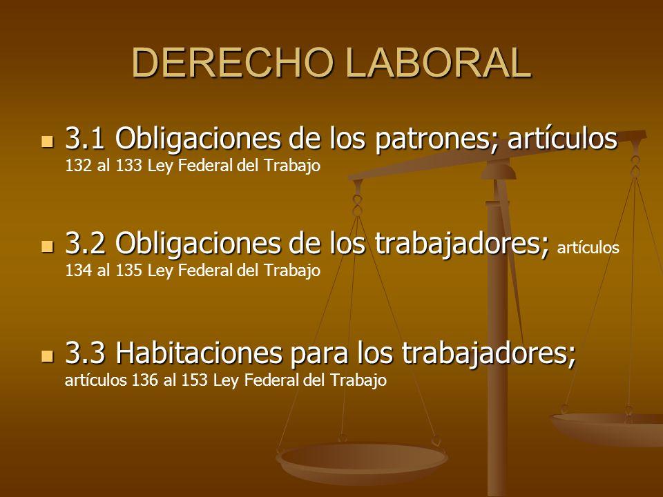 DERECHO LABORAL 3.1 Obligaciones de los patrones; artículos 132 al 133 Ley Federal del Trabajo.