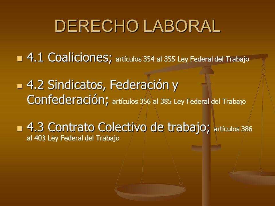 DERECHO LABORAL 4.1 Coaliciones; artículos 354 al 355 Ley Federal del Trabajo.