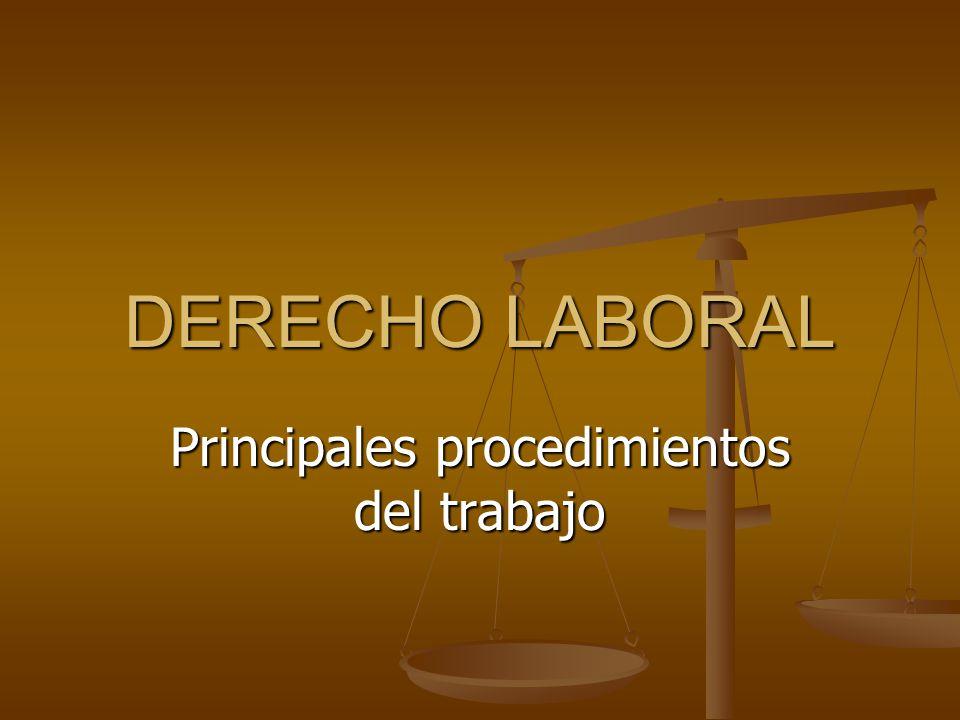 Principales procedimientos del trabajo